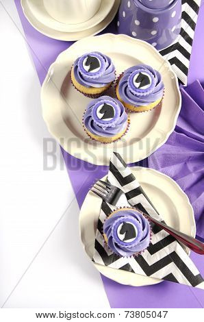 Black And White Chevron With Purple Theme Party Luncheon Table Place Setting For Melbourne Cup, Aust