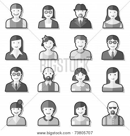 Flat avatar icons faces people