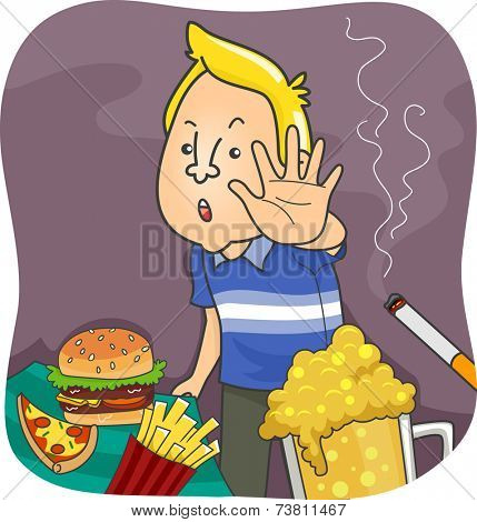 Illustration Featuring a Man Saying No to Unhealthy Food and Common Vices