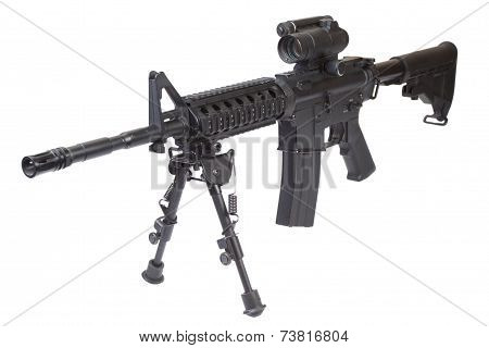 Special Forces Rifle With Bipod Isolated On A White Background