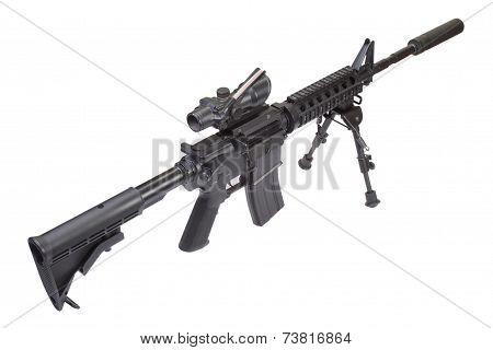 Assault Rifle With Bipod And Silencer Isolated On A White Background
