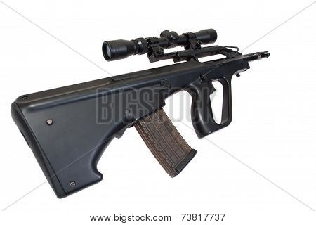 Assault Rifle Isolated On A White Background