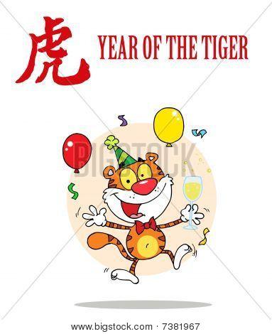 partying Tiger springen mit einem Jahr die Tiger chinesische Symbol und text