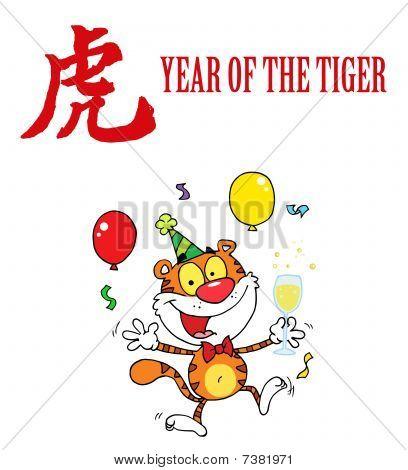 Partei Tiger springen mit einem Jahr die Tiger chinesische Symbol und text
