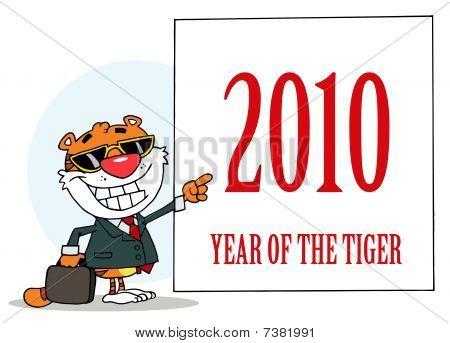 Business Tiger auf ein Zeichen 2010 Jahr des Tigers