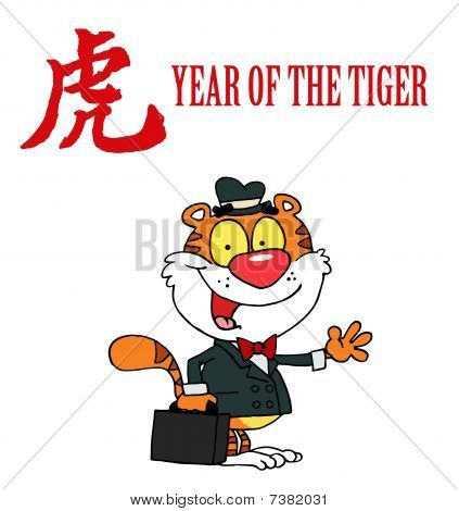 freundlich Geschäft Tiger mit einem Jahr die Tiger chinesische Symbol und text