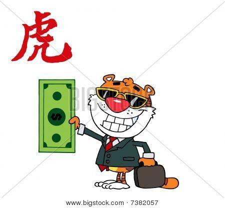 glücklich Tier Tiger hält Dollar Аnd Business Aktenmappe