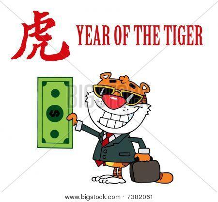 Character glücklich Tier Tiger hält Dollar Аnd Business Aktenmappe