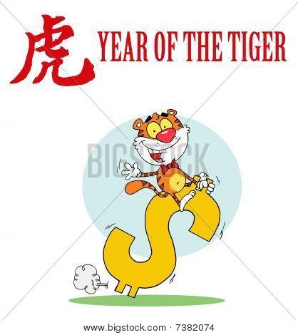 glücklich Tier Tiger fahren dollar