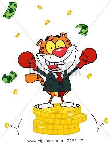 Cartoons Charakter Tier glücklich Tiger alated mit Sieg