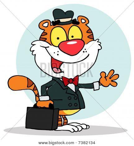 Verkäufer Tiger winken und Durchführung einer Aktentasche, Hintergrund