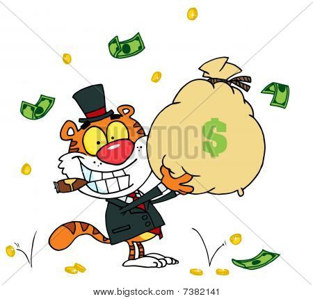 Tiger raucht eine Zigarre und hält einen Beutel mit Geld