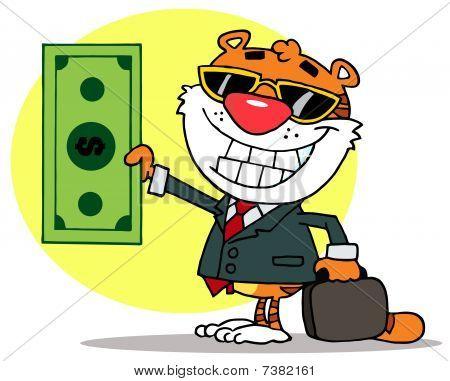 Tiger hält Dollar und Business Aktenmappe, Hintergrund