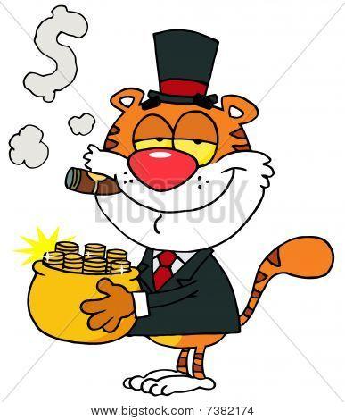 Happy Tiger mit einem Tiegel aus Gold und raucht eine Zigarre