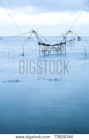 Yor Building, Local fishing with big net, at Thale noi, Phatthalung, Thailand