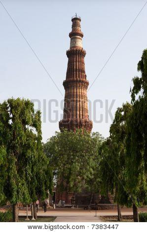 Qutb Minar Tower Among Trees, Delhi, India