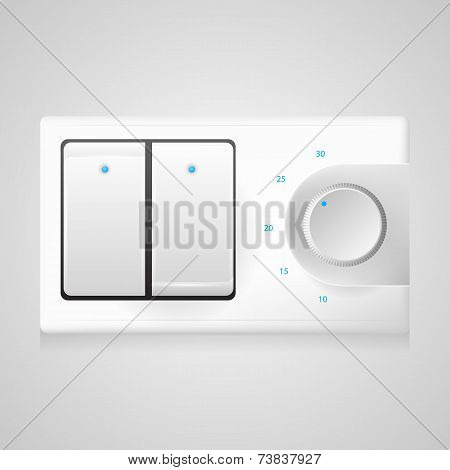 Vector illustration of white switch with dimmer