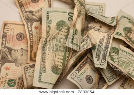 Crinkled Us Dollar Bills Closeup