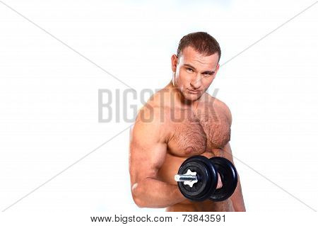 Strong man lifting weights isolated on white