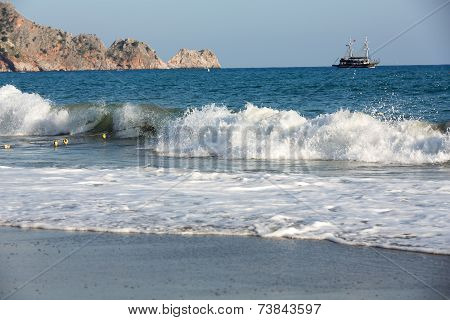 Alanya - the beach of Cleopatra . Alanya is one of most popular seaside resorts in Turkey poster