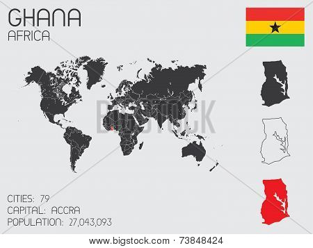 Set Of Infographic Elements For The Country Of Ghana
