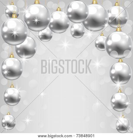 Christmas card with silver baubles on shiny background poster
