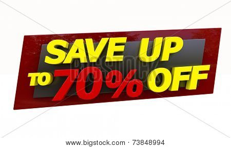 The phrase Save up to on a white background