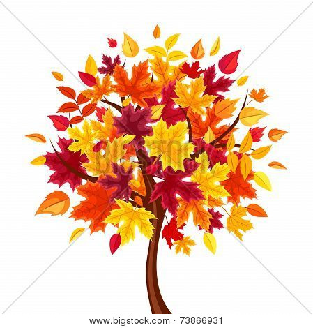 Abstract autumn tree. Vector illustration.