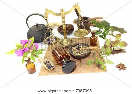 Chinese Medicine With Plants And Mortar