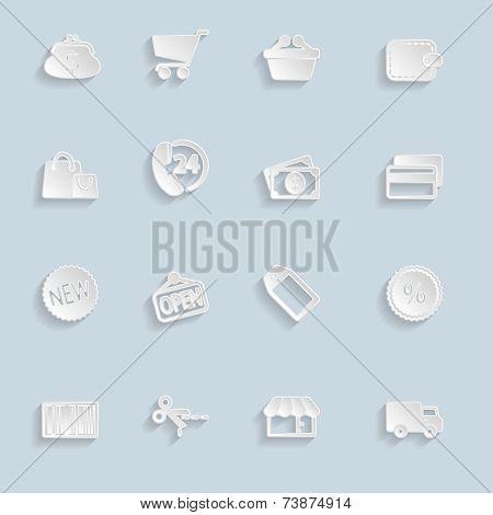 Paper Market Icons Set