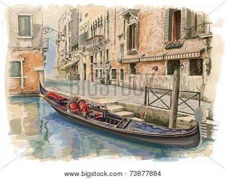 Venice - Calle Fondamenta Megio. Ancient building & gondola. Vector drawing