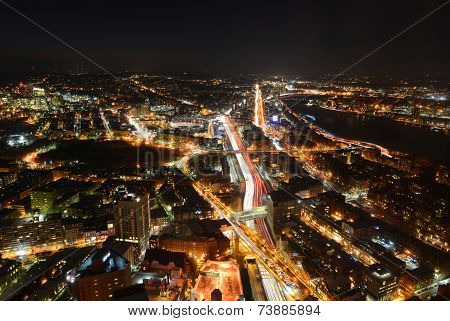 Boston Skyline at night, Massachusetts, USA