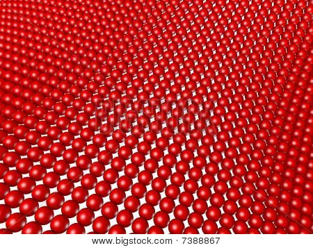 Red Spheres Structured As Grid Array Isolated On White.