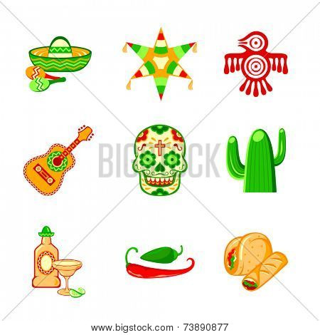 Colorful culture symbols, food and objects of Mexico