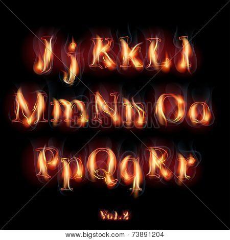 Fire Burning Latin Alphabet Letters. Set Vol.2 J-R