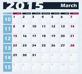 Calendar 2015 March vector design template. Week starts with Sunday. American version poster