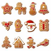 Gingerbread christmas cookies set icons symbols deesert poster