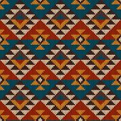 Vector illustration of seamless tribal knitted wool aztec design pattern. poster