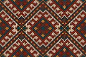 Vector illustration of seamless tribal knitted wool aztec design pattern poster
