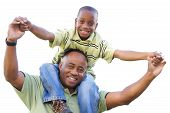 Happy African American Man and Child Isolated on a White Background. poster