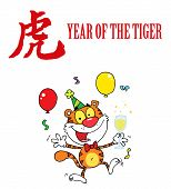 Party Tiger Jumping With A Year Of The Tiger Chinese Symbol And Text poster