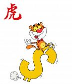 Wealthy Tiger Riding A Dollar Symbol With A Year Of The Tiger Chinese Symbol poster