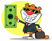 Cartoon Character Happy Tiger Keeps Dollar and Business Briefcase,background poster