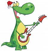 Happy Dinosaur plays guitar with santa hat poster