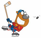 Happy Grinning Bear Playing Ice Hockey Stick poster