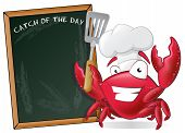 Cute Chef Crab with Spatula and Menu Board. Great illustration of a Cute Cartoon Crab Chef holding a Frying Spatula next to Menu Board. poster