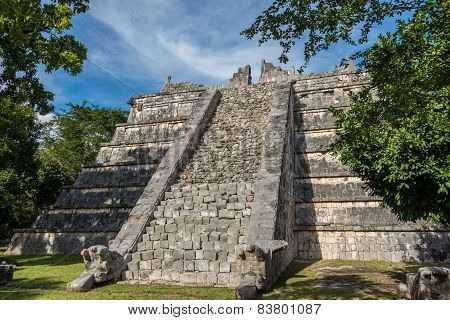 Side Stairway, Mayan Ruins. At Chichen Itza, Traveling Riviera Maya, Mexico Adventure.