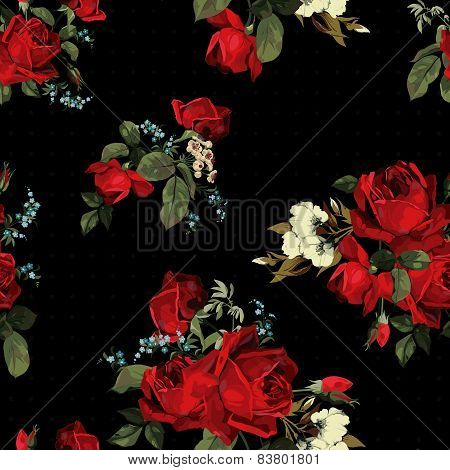 Abstract Seamless Floral Pattern With Red Roses On Black Background