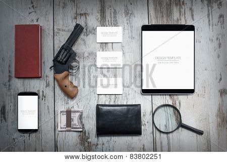 Mockup business template. Detective agency. High resolution. Business objects poster