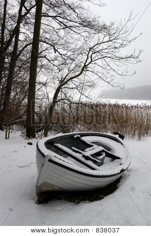 foggy winter boat